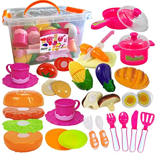 FUNERICA Pretend Play Food Set with Dishes and Cookware Playset for Kids, Cutting Vegetables, Mini Pots and Pans Set, Knife, Cutting Board, Surprise Gift for Girls, Boys, Toddlers