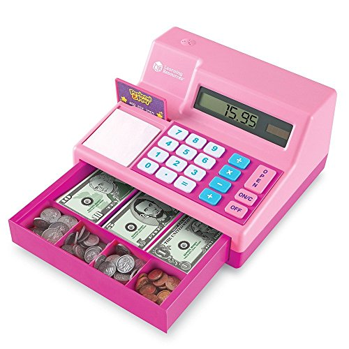 Learning Resources Pretend & Play Calculator Cash Register, Classic Counting Toy, 73 Pieces, Ages 3+, Pink