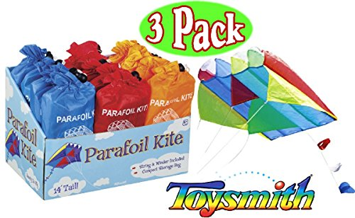 Toysmith Parafoil Kites Red, Blue & Orange Gift Set Bundle - 3 Pack