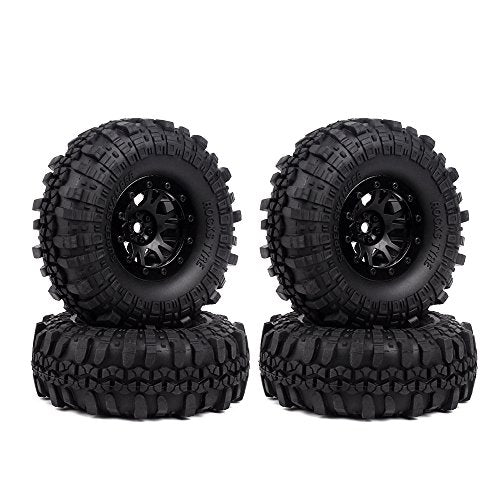 INJORA 1.9 Inch Beadlock Wheel Rim & Rubber Tires for 1/10 RC Crawler Axial SCX10 90046 90047 Tamiya CC01 D90 TF2,5 Color Available,4Pcs/Set (Black)