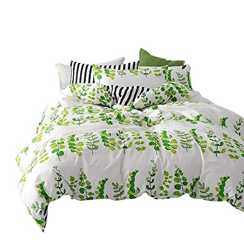 BuLuTu Giving Tree Leaves Print Cotton Twin Kids Bedding Sets for Boys Girls Reversible Natural Striped Duvet Cover Sets White Premium Comforter Cover with Zipper Closure,No Comforter