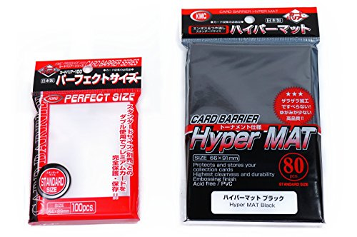 KMC Hyper Mat Sleeve Black (80-Pack) + 100 Pochettes Card Barrier Perfect Size Soft Sleeves Value Set !