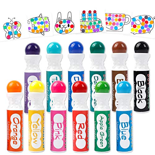 Dot Markers, 12 Colors Shuttle Art Bingo Daubers Dabbers Dauber Dawgs for Kids Toddlers Preschool Children Art Craft Supply with 10 Patterns Double Adhesive Paper