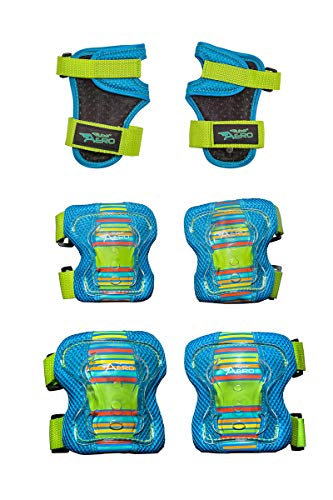 Flybar AERO Elbow, Knee and Wrist Guard Safety Set - Multi Sport Protection for Skateboarding, BMX, Pogoing, Inline Skating, Scooter – Junior Size Ages 5 to 10 (Blue, S/M)