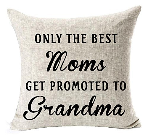 Andreannie Best Only The Best Moms Get Promoted to Grandma Blessing Cotton Linen Throw Pillow Case Cushion Cover Home Office Decorative Square 18 X 18 Inches