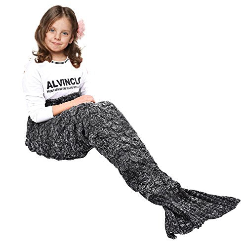 yashidali Wearable Mermaid Tail Blanket Crochet, All Seasons Warm Knitted Bed Blankets Sofa Living Room Quilt for Kids, Fish-Scales Pattern, 55.1