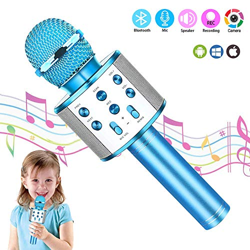 Kid Girl Top Birthday Gift Toy,Wireless Bluetooth Karaoke Microphone, Best Gift Presents for Girl Kid Boy Children Age 5 6 7 8 9 10 11 12 Years Old, Cool Funny Gift for 5-12 Years Old Girl Boy (blue)