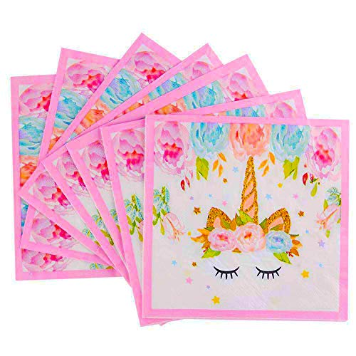 Unicorn Beverage Lunch Napkins - FZR Legend Sparkle Unicorn Themed Party Supplies | 6.7 x 6.7 Inches Folded | Unicorn Birthday Party Decorations for Girls and Baby Shower - Gold Pink (50 ct)