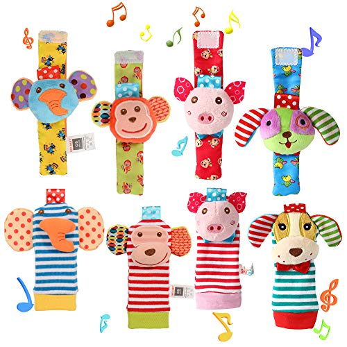ThinkMax Wrist Foot Rattles for Baby, 8 Pcs Soft Animal Wrist Rattles and Foot Finder Socks - Elephant, Monkey, Piggy and Puppy