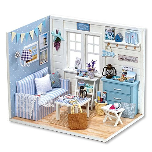 Flever Dollhouse Miniature DIY House Kit Creative Room with Furniture and Cover for Romantic Valentine's Gift (Fresh Sunshine)
