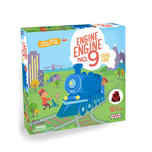 AMIGO Engine Engine No. 9 Kids Board Game with 12 Toy Trains