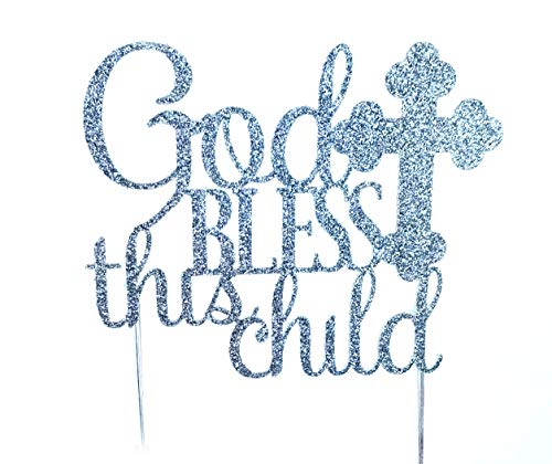CMS Design Studio Handmade Cake Topper Decoration - God Bless This Child - Double Sided Gold Glitter Stock (Silver)