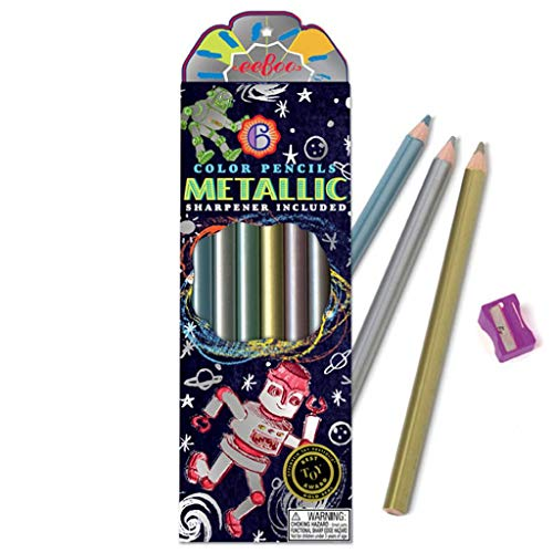 eeBoo Metallic Colored Pencils for Kids, Silver Robot, Set of 6