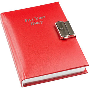 "Esposti 5 Year Undated Lockable Diary - Red (Size 4.4"" � 5.8"")"
