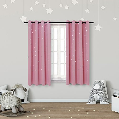 Anjee Kids Blackout Curtains (2 Panels) for Girls Bedroom with Laser Cut Out Stars, Thermal Insulated Light Blocking Window Curtains Drapes for Kids Nursery Room, W52 x L63 Inches, Baby Pink