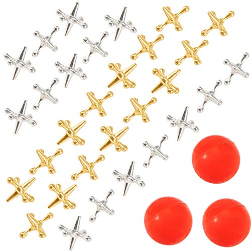 Biubee 3 Sets Retro Metal Jacks and Ball Game- 30 Pcs Gold and Silver Toned Jacks with 3 Red Rubber Bouncy Balls, Classic Game of Jacks for Party Favor, Game Prizes, Kids and Adult of All Ages