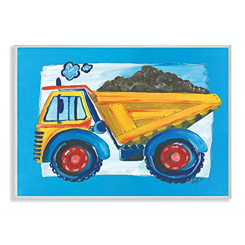 The Kids Room by Stupell Yellow Dump Truck with Blue Border Stretched Canvas Wall Art, 16 x 20, Multi-Color