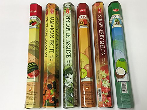 Hem Tropical Fruit Variety Incense Set 6 X 20 = 120 Sticks Variety Gift Pack