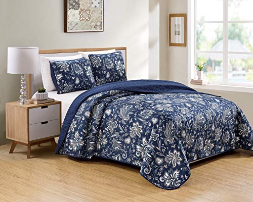 Kids Zone Home Linen 2 Piece Twin/Twin Extra Long Over Size Bedspread Set Floral Print Pattern Blue Taupe White Grey