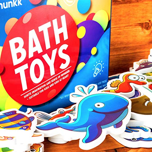 CHIPMUNKK Solid Foam Rubber Bath Toys with Colorful Sea Animal Theme - Hygienic & Sticks to Tub - Nemo, Octopus & More - for Kids, Toddlers, Boys, Girls & Baby - Doesn't Trap Water, Stay Germ Free