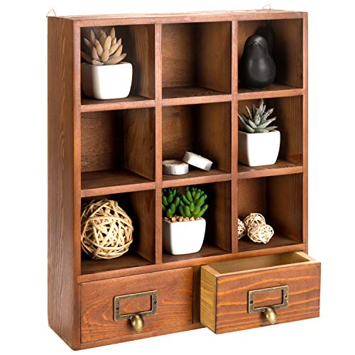 MyGift 16.5 inch Vintage Freestanding Wooden Display Shelves with 2 Drawers Storage 9 Compartment Shadow Box