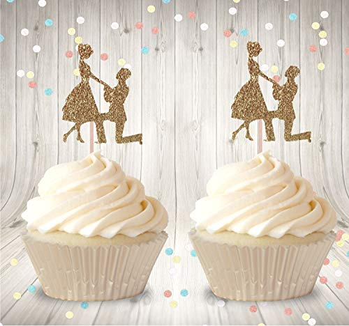 iMagitek 24 Pack Proposal Engagement Cupcake Toppers Picks for Hen Party, Engagement, Bachelorette, Bridal Shower, Wedding
