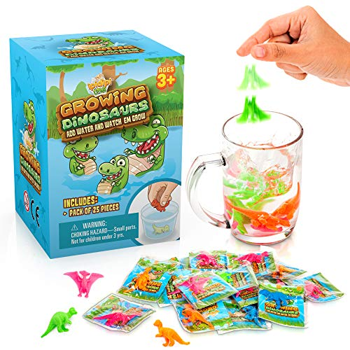 Water Growing Dinosaurs - 25 Pack - Individually Wrapped Favors - Expandable Animals - Party Supplies, Goodie Bags Fillers- Great Gift for Boys and Girls - Fit as Easter Egg Fillers