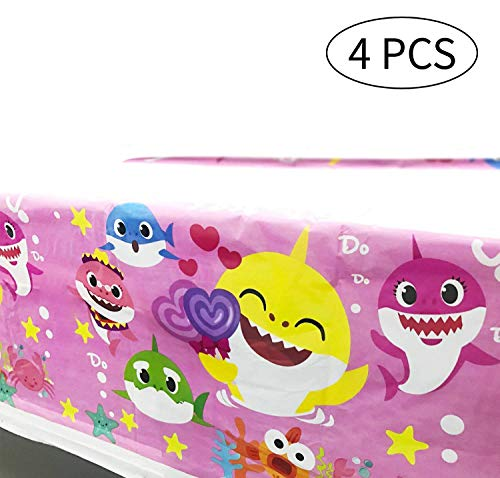 BAODAN 4 Pack Baby Shark Tablecover, Pink Baby Shark Table Cloth for Best Girl Birthday Party, Baby Shark Party Decorations for Girls Party and Baby Shower