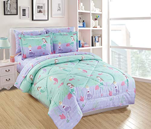 Mk Home 7pc Full Size Comforter Set for Girls Mermaids Fishes Aqua Lavender Pink New