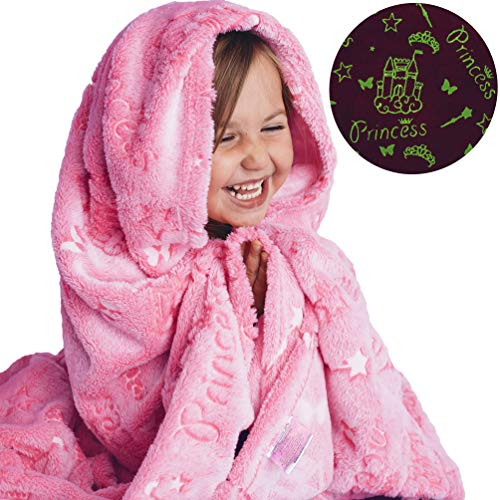 DreamsBe Princess Blanket Glow in The Dark Luminous Magical Blanket for Little Girls - Soft Plush Pink Fantasy Castle Blanket Throw for Kids - Large 60in x 50in Glowing Stars Blankets Gift for Girls