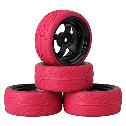 Mxfans Black 5 Spoke Plastic Wheel Rim+Red Fish Scale Pattern Rubber Tyre for RC 1:10 On Road Car Pack of 4