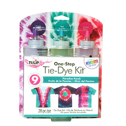 Tulip One-Step Tie-Dye Kit Premium Dye and Supplies, Easy Techniques & Fabric Designs on Shirts, Dresses, Socks, Shoes, Tapestries, Paradise Punch