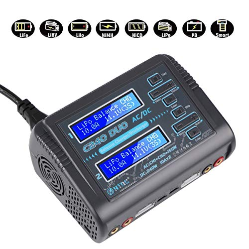 Innovateking HTRC C240 LiPo Charger Duo Dual Balance Charger AC 150W DC 240W 10A C240 1-6S for Li-ion Life NiCd NiMH LiHV PB Smart Battery RC Battery Bulit-in Supply
