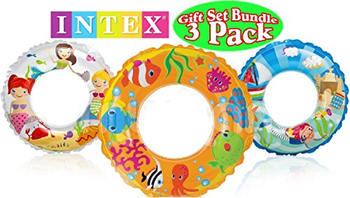 Intex Ocean Reef Transparent Swim Rings Fish, Mermaid & Beach Gift Set Bundle - 3 Pack