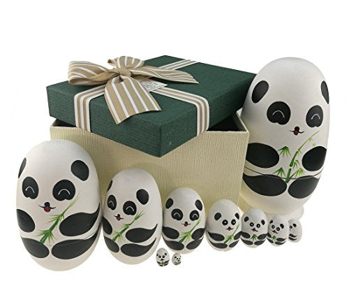 Apol Cute Panda with Bamboo Egg Shape Handmade Wooden Russian Nesting Dolls Matryoshka Doll Set 10 Pieces in a Box with Bow for Home Decoration Kids Toy Christmas Birthday Easter Gift