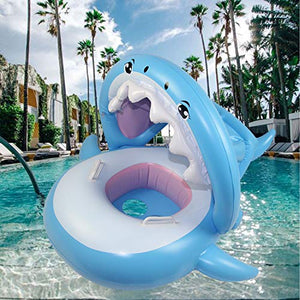 Beautifive Pool Floats for Kids, Shark Pool Float with Canopy, Inflatable Baby Float, Swim Ring Floaties for Baby Infant Toddlers Aged 8-48 Months