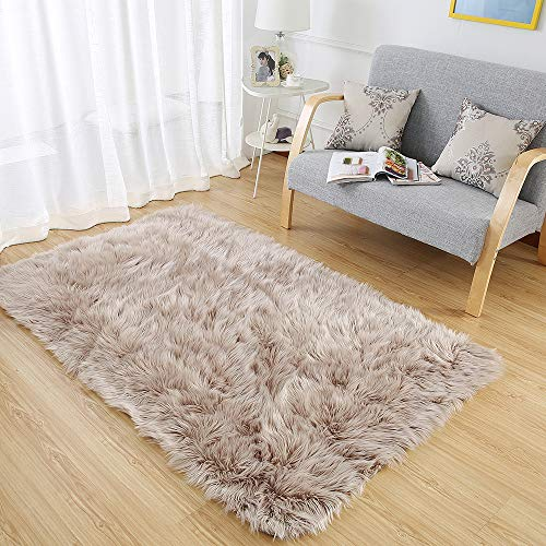 OJIA Deluxe Soft Fuzzy Fur Rugs Faux Sheepskin Shaggy Area Rugs Fluffy Modern Kids Carpet for Living Room Bedroom Sofa Bedside Decor(3 x 5ft, Light Coffee)