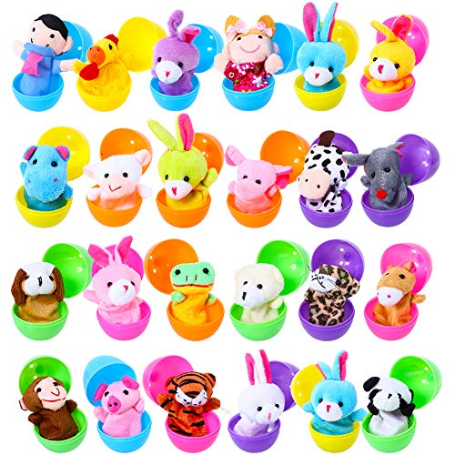 Acekid Easter Eggs Filled with Finger Puppets, 24pcs Kids Plush Animal Finger Puppets Set, Easter Theme Party Favor, Easter Eggs Hunt, Basket Stuffer Fillers for Boys & Girls