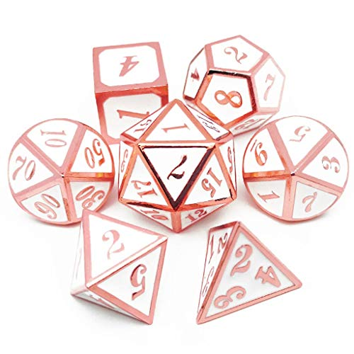 Haxtec 7PCS Metal Dice Set Copper White D&D Dice for Dungeons and Dragon Games-Glossy Enamel Dice (Copper/Rose Gold White)