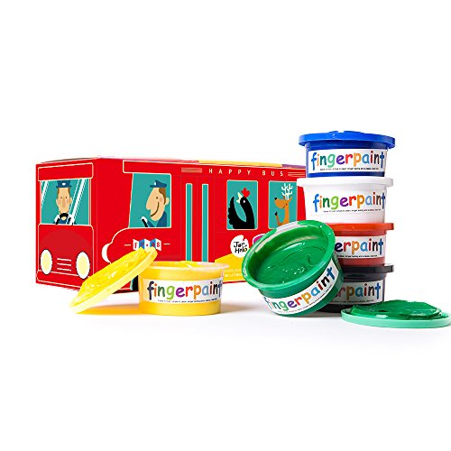 Jar Melo Finger-Paint Lovely School Bus; Washable;Art Tools;Non-Toxic;6 Colors of Pigment