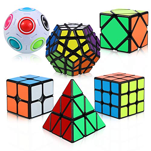 ThinkMax 6 Pack Speed Cubes Bundle - 2x2x2 3x3x3 Pyramid Megaminx Skew Cube Magic Rainbow Ball, Puzzle Cube Toy for Kids and Adults
