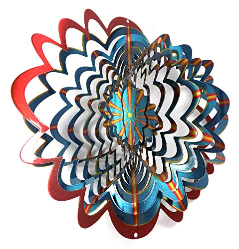 WorldaWhirl Whirligig 3D Wind Spinner Hand Painted Stainless Steel Twister Star (6.5