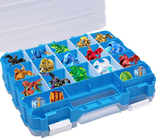 HOME4 Double Sided BPA Free Toy Storage Container - Compatible with Bakugan, Mini Toys, Small Dolls - Toy Organizer Carrying Case - 34 Adjustable Compartments