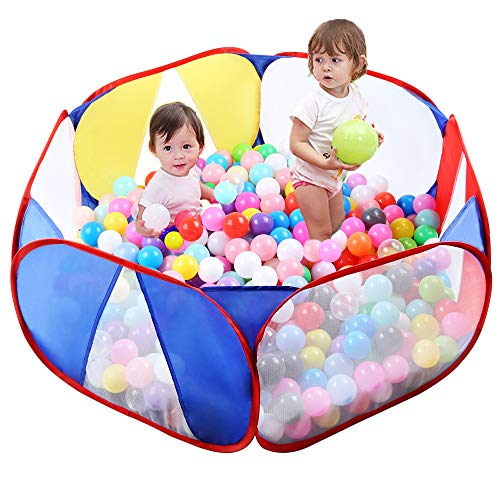 Eocolz Kids Ball Pit Tents Toddler Play Tent Baby Playpen Healthy Toy for Boys Girls Infant Children with Zippered Storage Bag, Indoor Outdoor Gift, 39.4 Inch, Balls Not Included (Blue)