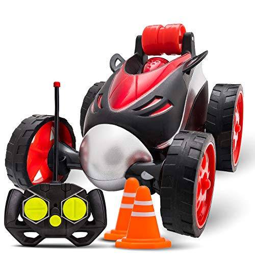 Atlasonix Remote Control Car for Boys - RC Stunt Car Toy | 4-Wheel Drive Car Spins and Flips | Indoor and Outdoor w/ Bonus - 6 Traffic Cones | Gift for Kids 3-10 | Size 7 x 5 in. (Red)