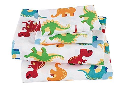 Fancy Boys Sheet Set Dinosaur White Blue Orange Green Red New # Dinosaur White (Twin)