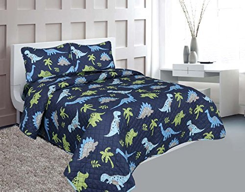 Goldenlinens Full Size 3 Pieces Printed Kids Bedspread/Coverlet Sets/Quilt Set (Full, Dinosaur)