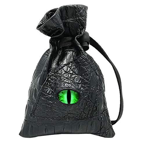 Haxtec Dice Bag Drawstring Leather DND Dice Storage Pouch for D&D Roleplaying Games Dices, Coins and Accessories (Venom-Green Eye)