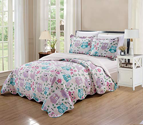 Elegant Home Cute Beautiful Girls Mutlicolor Pink White Blue Purple Floral Owl with Hearts Design 2 Piece Coverlet Bedspread Quilt for Kids Teens/Girls Twin Size # Owl (Twin Size)