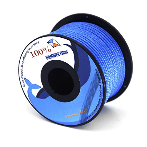 emma kites Blue UHMWPE Braided Cord High Strength Least Stretch Tent Tarp Rain Fly Guyline Hammock Ridgeline Suspension for Camping Hiking Backpacking Survival Recreational Marine Outdoors 100Ft 350Lb